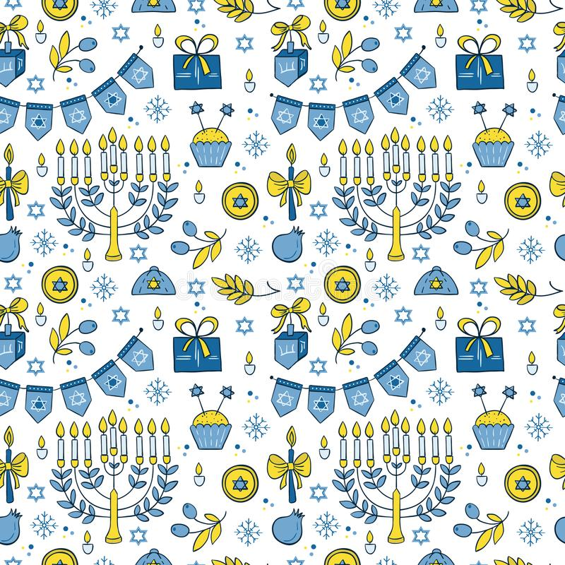 Modèle sans couture de Hanoucca illustration libre de droits