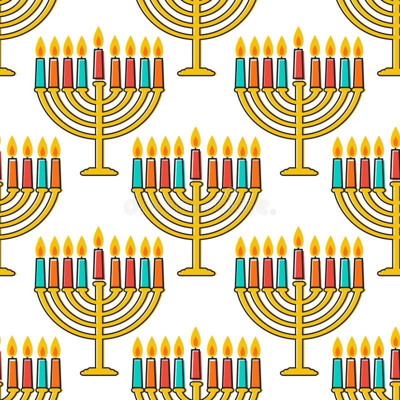 Modèle sans couture de Hanoucca Simbols de Hanoucca Bougies, menorah, sufganiot et dreidel de Hanoucca illustration stock