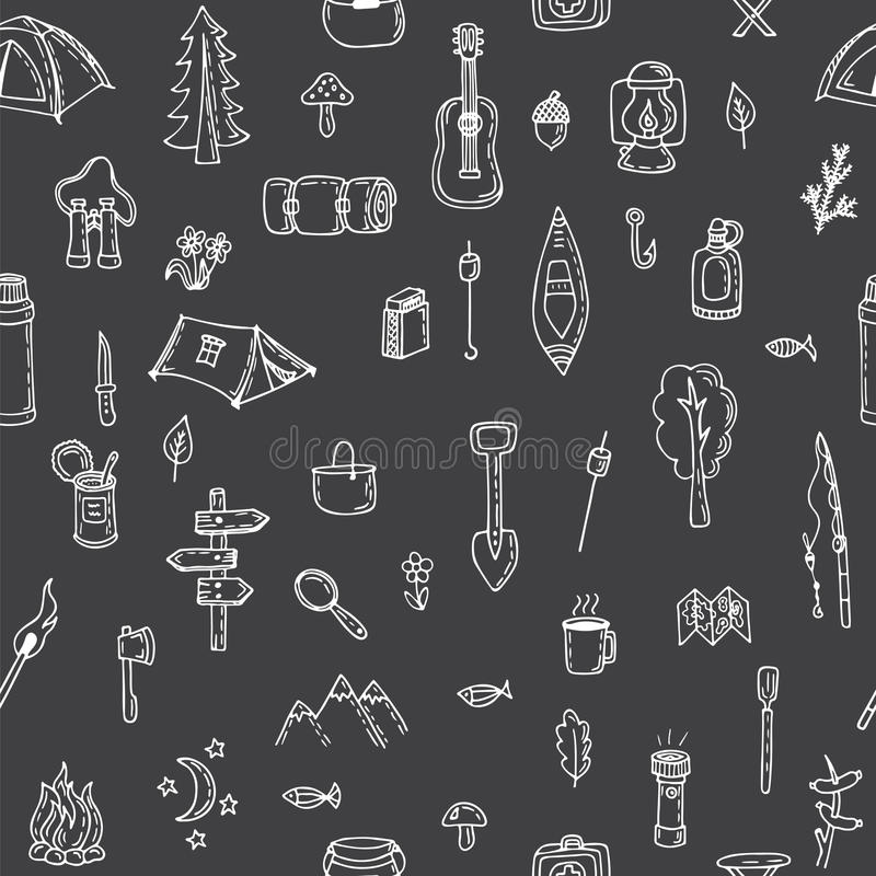 Modèle sans couture de hausse tirée par la main Éléments de camping de griffonnage Picni illustration stock