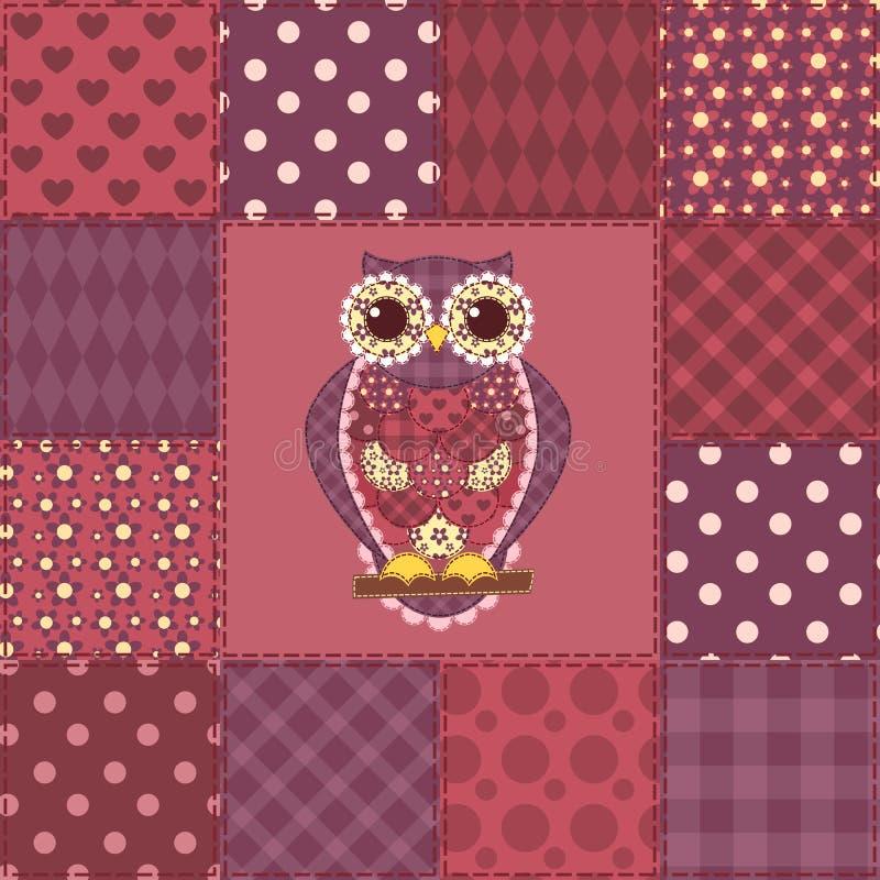 Modèle sans couture 3 de hibou de patchwork illustration stock