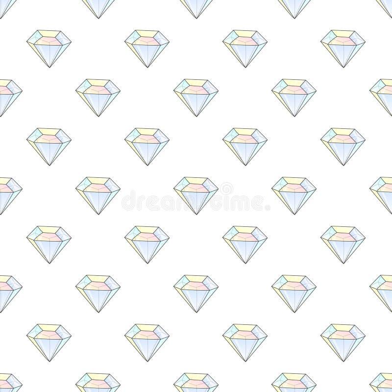 Modèle sans couture de hippie de mode avec des diamants Tuiles de conception de fausses pierres illustration stock