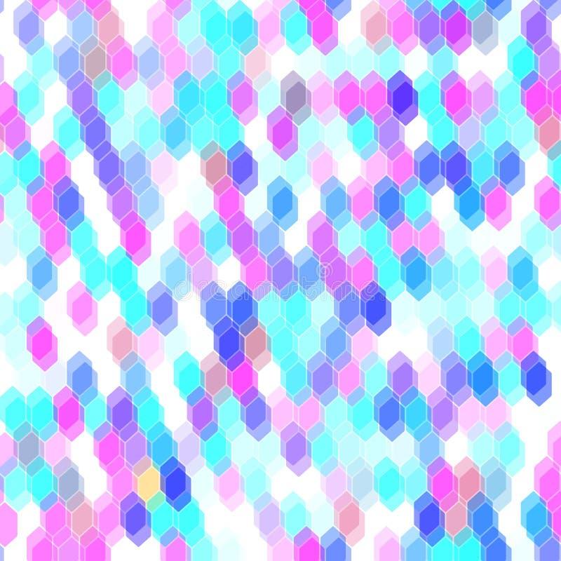 Modèle sans couture de hippies abstraits avec des hexagones colorés, rose, bleu Fond géométrique Vecteur illustration de vecteur