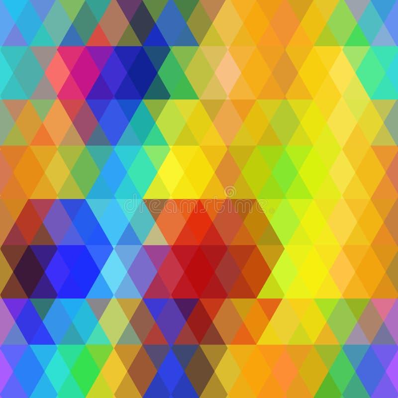 Modèle sans couture de hippies abstraits avec le losange lumineux de couleur d'arc-en-ciel Fond géométrique Vecteur illustration de vecteur