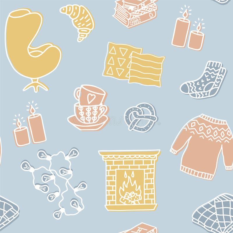 Modèle sans couture de Hygge Illustration mignonne des attributs de hygge de saison d'automne et d'hiver illustration de vecteur