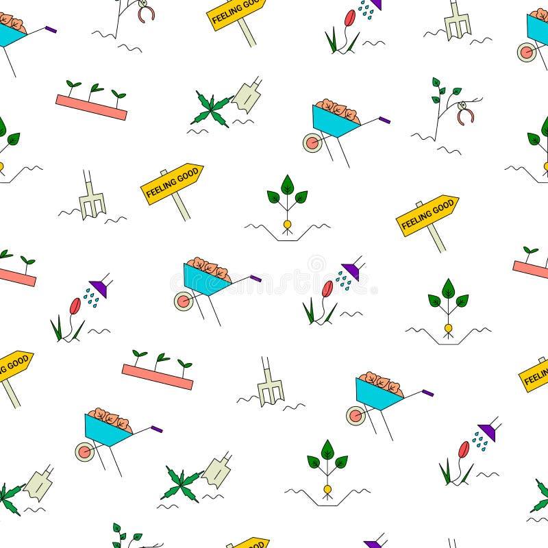 Modèle sans couture de jardinage de ressort illustration stock