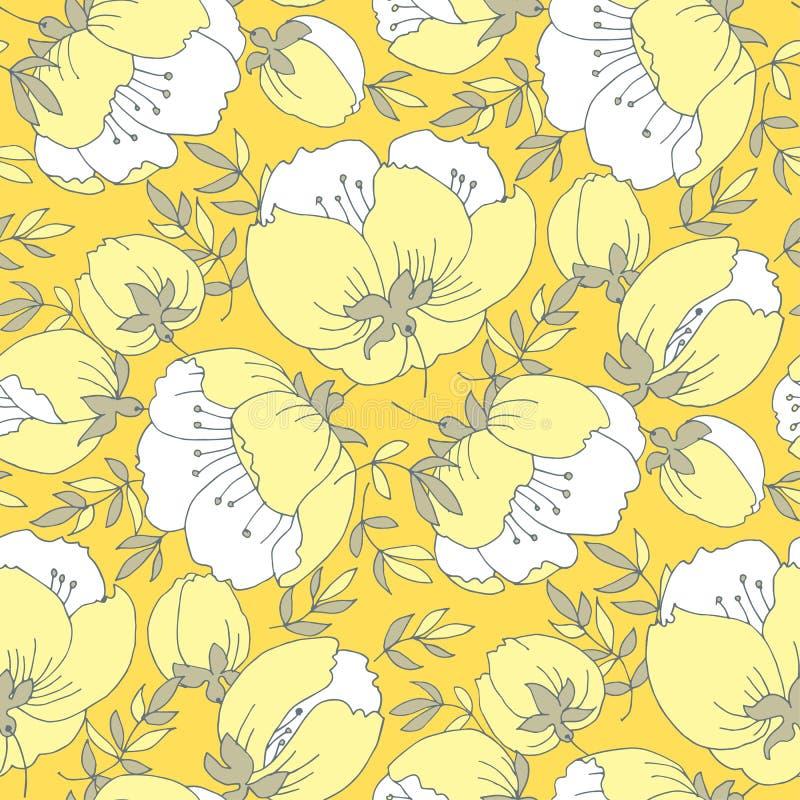 Modèle sans couture de jaune de fleur élégante tendre de rose illustration libre de droits