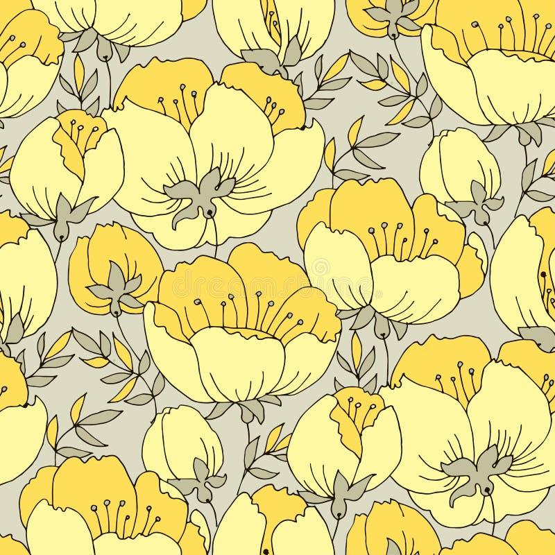 Modèle sans couture de jaune de fleur élégante tendre de rose illustration stock