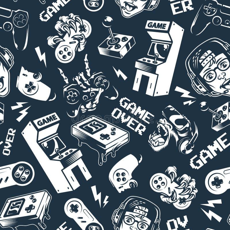 Modèle sans couture de jeu vidéo monochrome de cru illustration stock