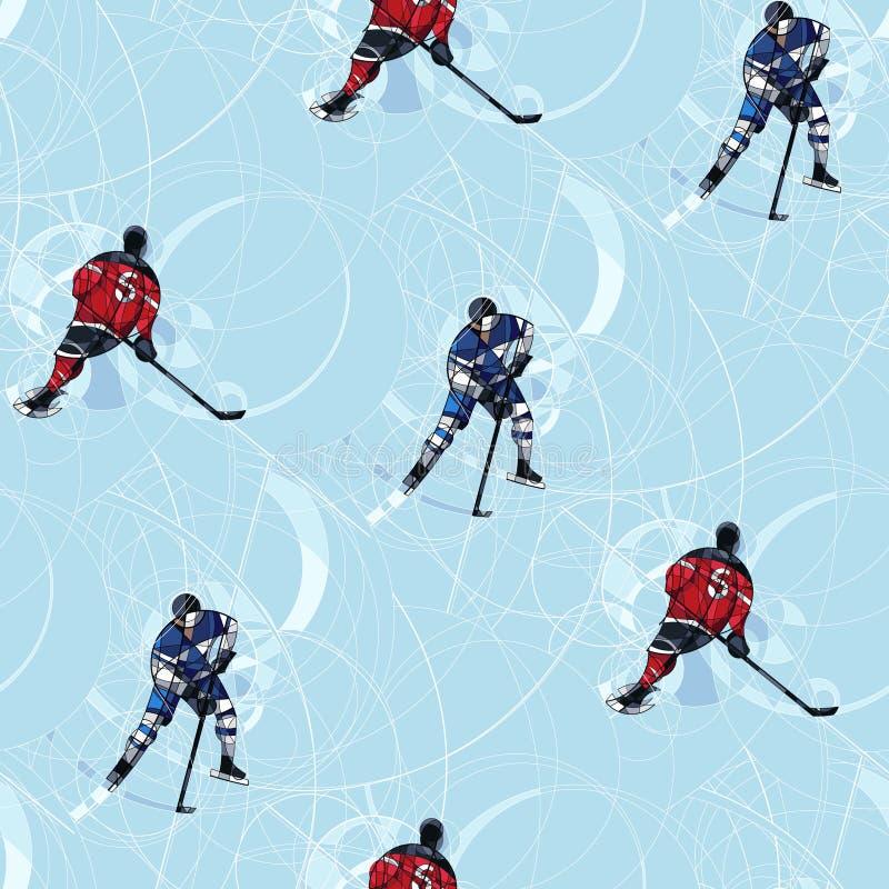 Modèle sans couture de joueurs de hockey de glace illustration de vecteur
