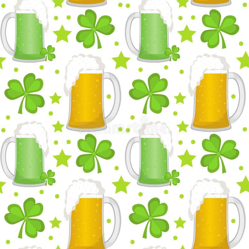 Modèle sans couture de jour de St Patricks avec de la bière et le trèfle Texture sans fin de contexte Illustration de vecteur illustration libre de droits