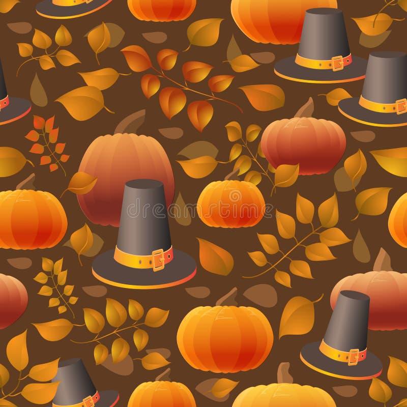 Modèle sans couture de jour de thanksgiving avec des potirons, des chapeaux et des feuilles illustration stock