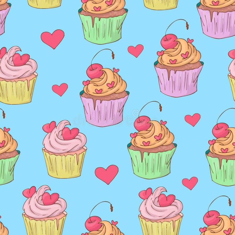 Modèle sans couture de jour de St Valentine s avec des petits gâteaux Illustration de vecteur illustration stock