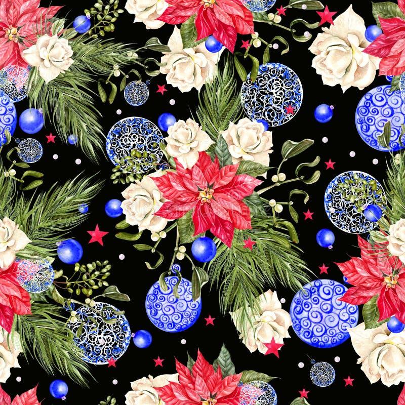 Modèle sans couture de Joyeux Noël avec l'arbre de Noël d'aquarelle, boules de couleurs bleues, roses, fleurs de Noël, étoiles illustration de vecteur