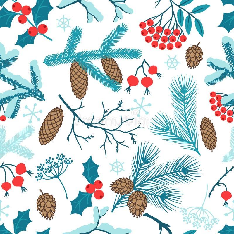 Modèle sans couture de Joyeux Noël avec l'hiver illustration stock