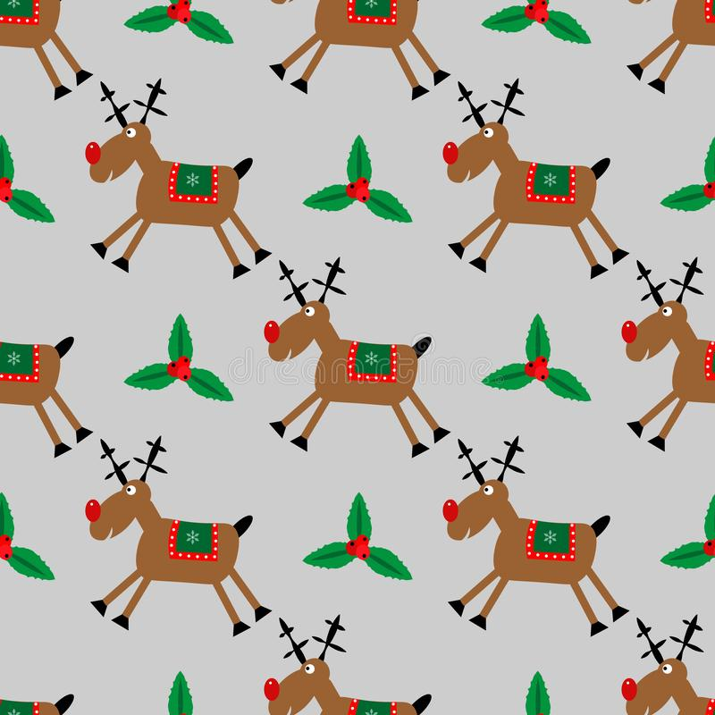 Modèle sans couture de Joyeux Noël avec les cerfs communs et le houx de chatte illustration libre de droits