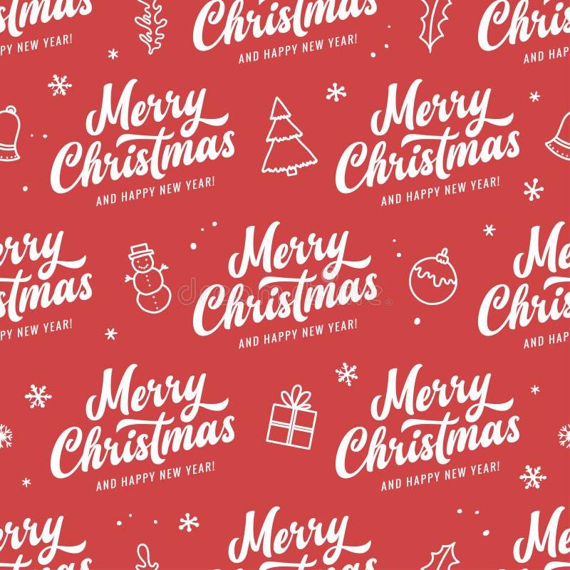 Modèle sans couture de Joyeux Noël et de bonne année Illustration de vintage de vecteur illustration libre de droits