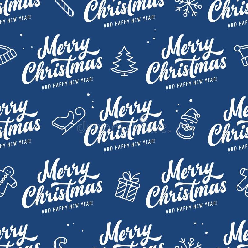 Modèle sans couture de Joyeux Noël et de bonne année Illustration de vintage de vecteur illustration de vecteur