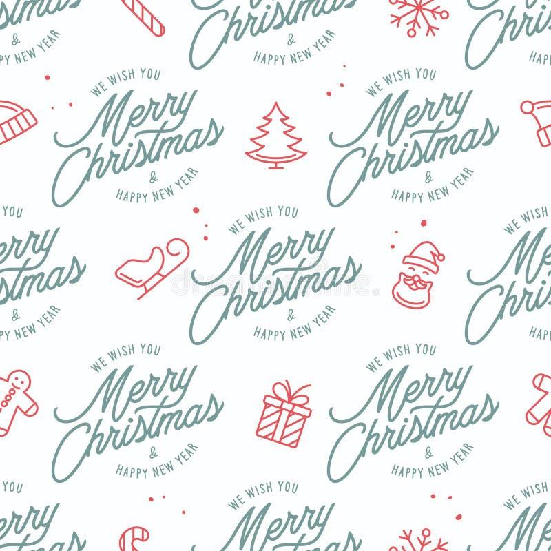Modèle sans couture de Joyeux Noël et de bonne année Illustration de vintage de vecteur illustration stock