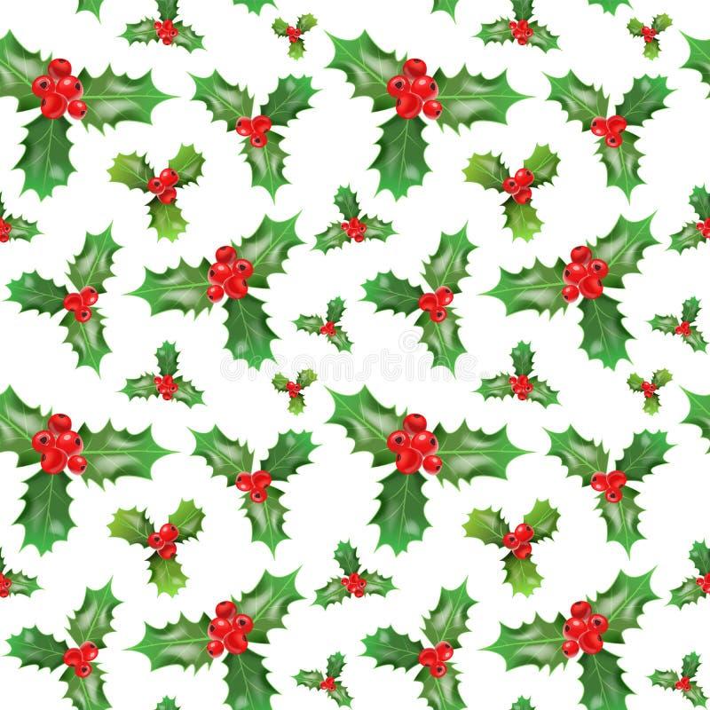 Modèle sans couture de Joyeux Noël et de bonne année avec Holly Berries Papier d'emballage de vacances d'hiver illustration libre de droits