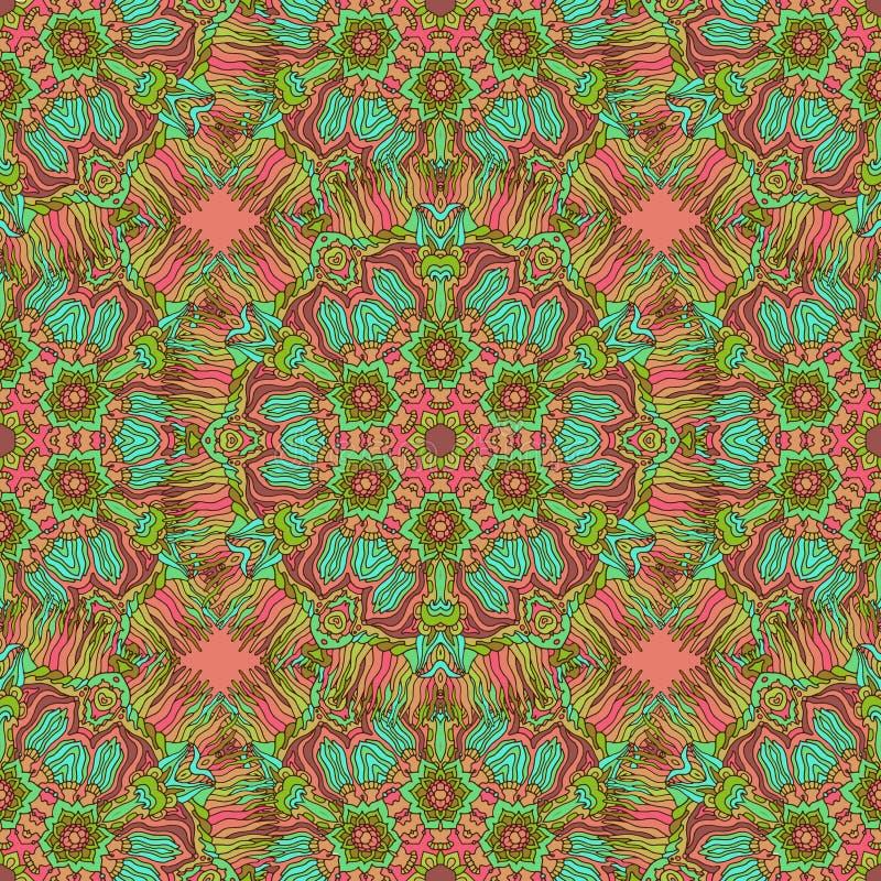 Modèle sans couture de kaléidoscope coloré de griffonnage illustration stock