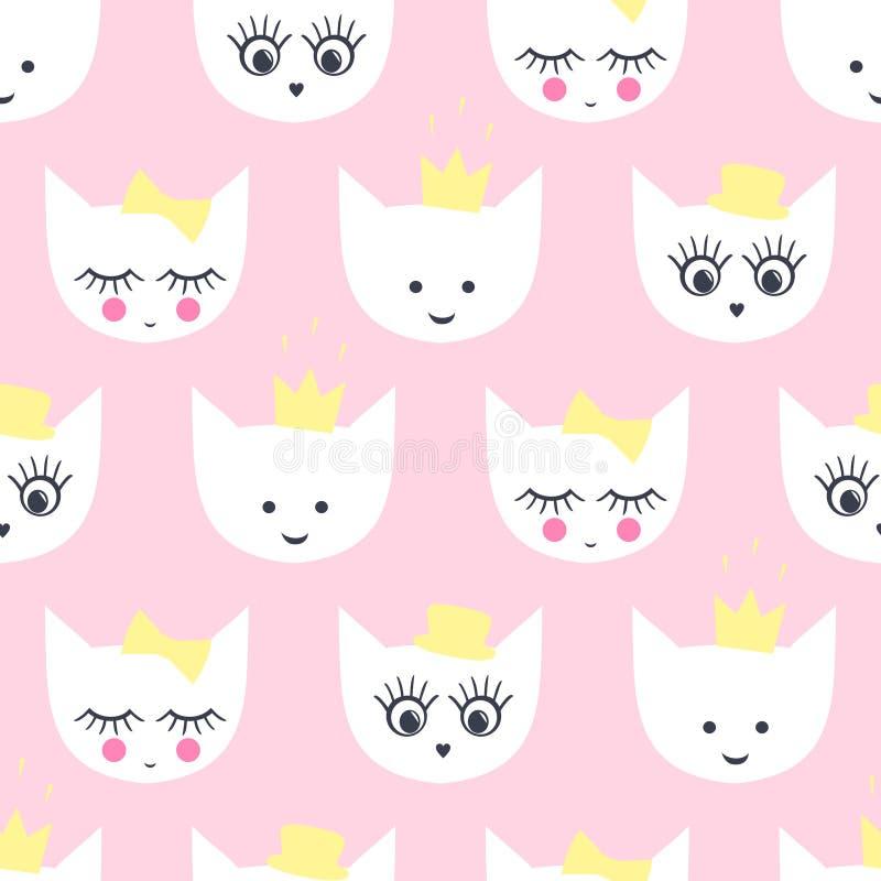 Modèle sans couture de Kitty illustration de vecteur
