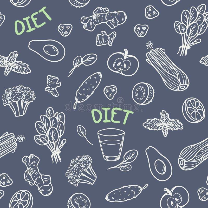Modèle sans couture de légumes de style de craie illustration stock