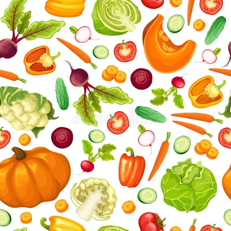 Modèle sans couture de légumes frais de bande dessinée illustration de vecteur
