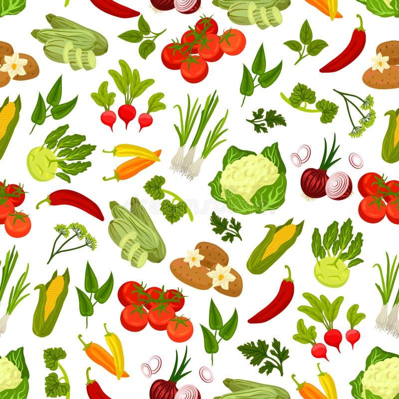 Modèle sans couture de légumes frais de ferme illustration de vecteur