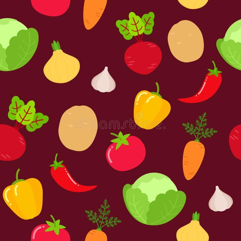 Modèle sans couture de légumes sur le fond de Bourgogne illustration de vecteur