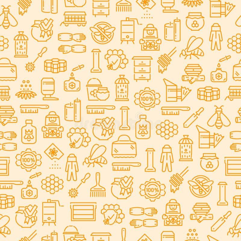 Modèle sans couture de l'apiculture et d'apiculture de miel, fond avec des icônes d'ensemble illustration libre de droits