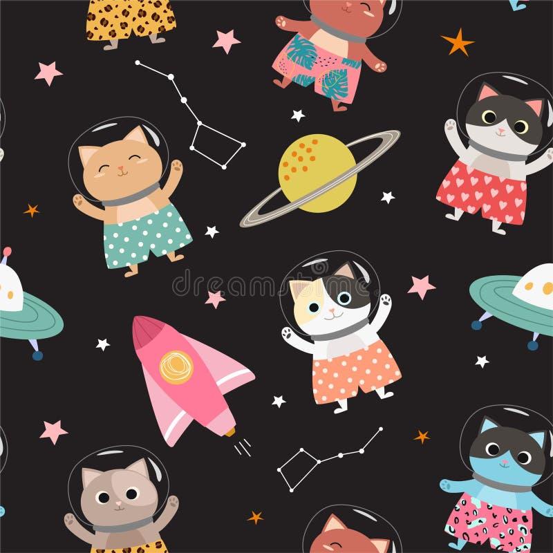 Modèle sans couture de l'espace avec la bande dessinée, chatons mignons dans des shorts élégants Illustration de vecteur illustration libre de droits