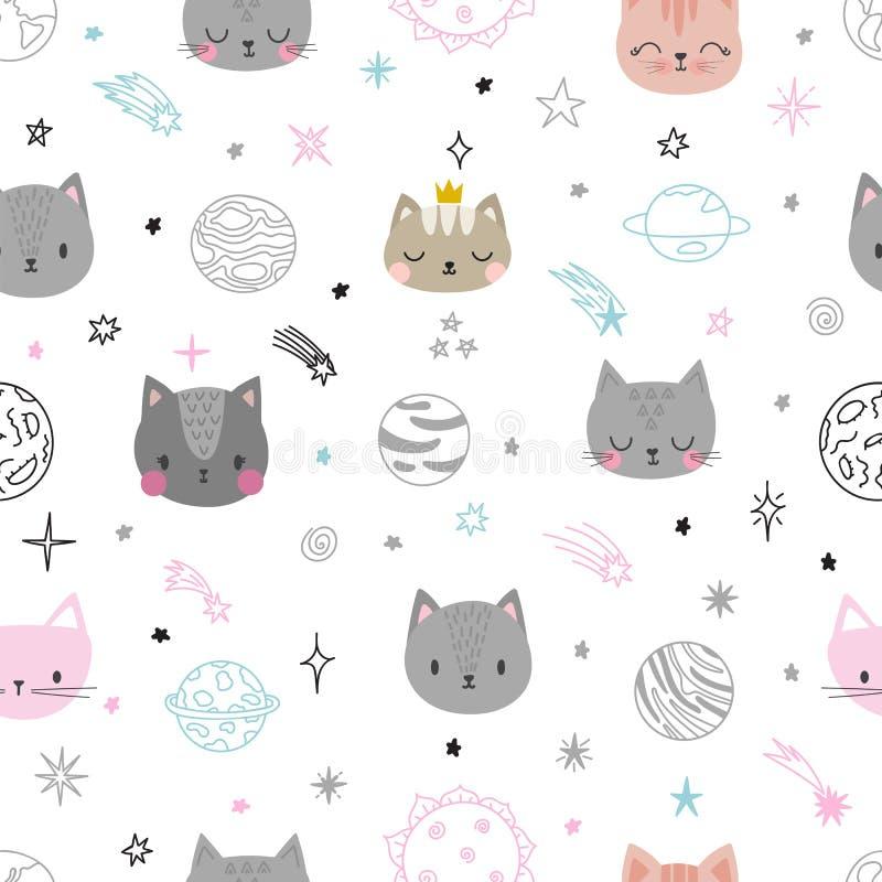 Modèle sans couture de l'espace mignon avec des chats de bande dessinée Impression abstraite Fond tiré par la main de crèche avec illustration stock