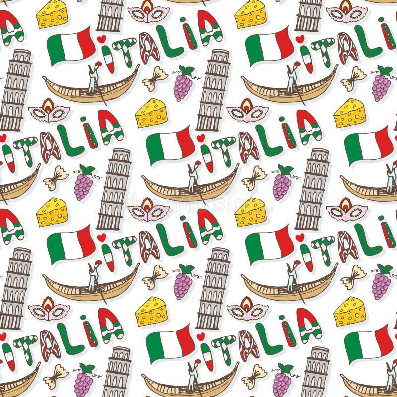 Modèle sans couture de l'Italie avec des éléments de drapeau et de culture Fond de voyage de griffonnage de vecteur Lettrage de l illustration de vecteur