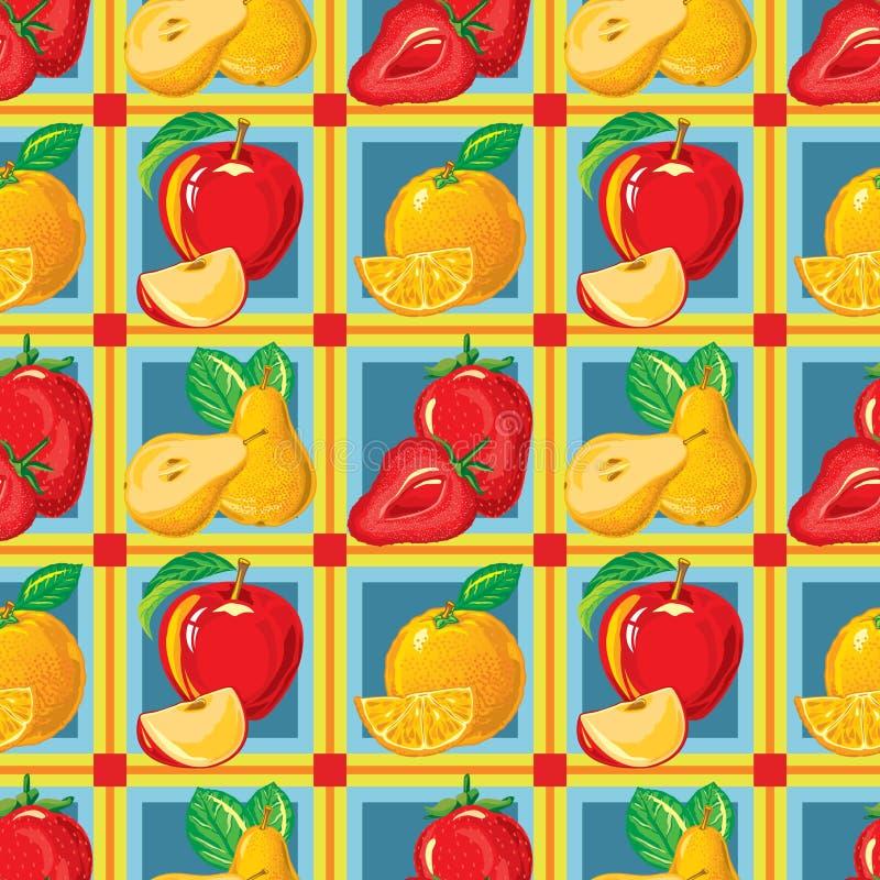 Modèle sans couture de la fraise mûre, pomme, orange, poire illustration de vecteur