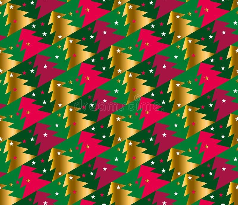 Modèle sans couture de la géométrie d'arbre de Noël dans le colo lumineux de carnaval illustration de vecteur