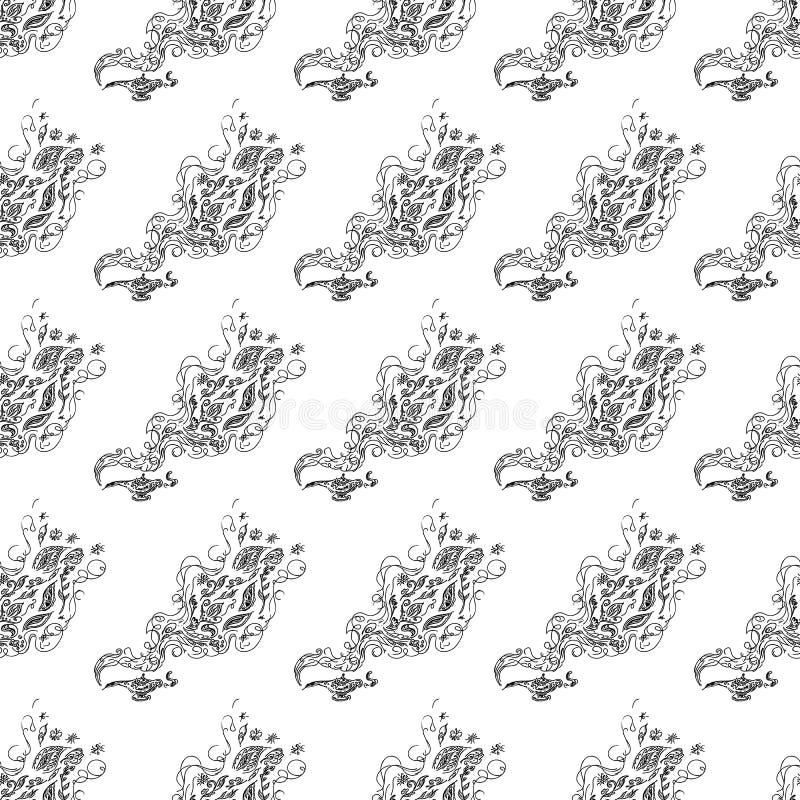 Modèle sans couture de la lampe magique de genies d'isolement sur le fond blanc Placez des éléments floraux sans couture Ligne et photographie stock