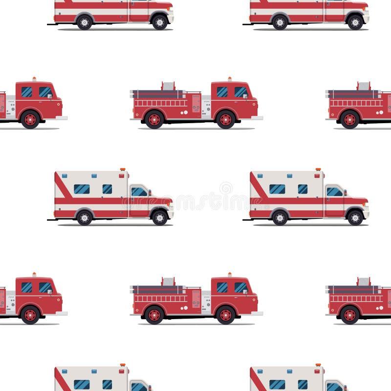 Modèle sans couture de la pompe à incendie et de l'ambulance illustration stock
