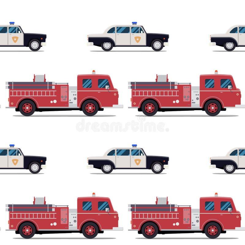 Modèle sans couture de la pompe à incendie et de la voiture de police illustration stock
