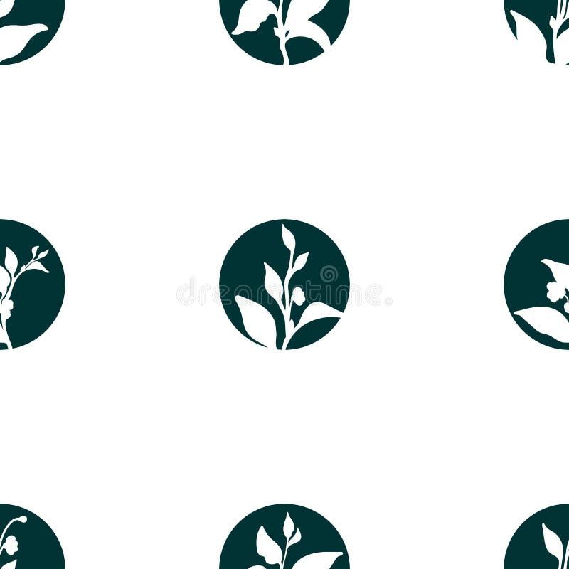Modèle sans couture de la pousse de thé Dirigez la silhouette en cercle d'isolement sur le fond blanc illustration libre de droits