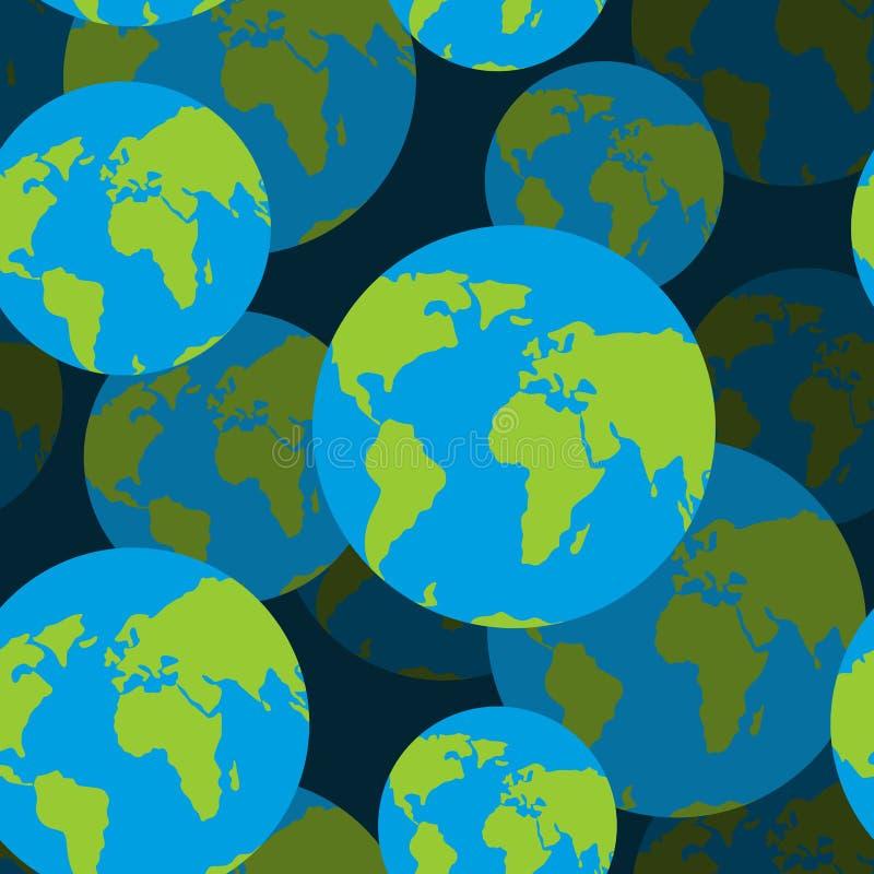 Modèle sans couture de la terre fond 3D de signe de globe Texture illustration de vecteur