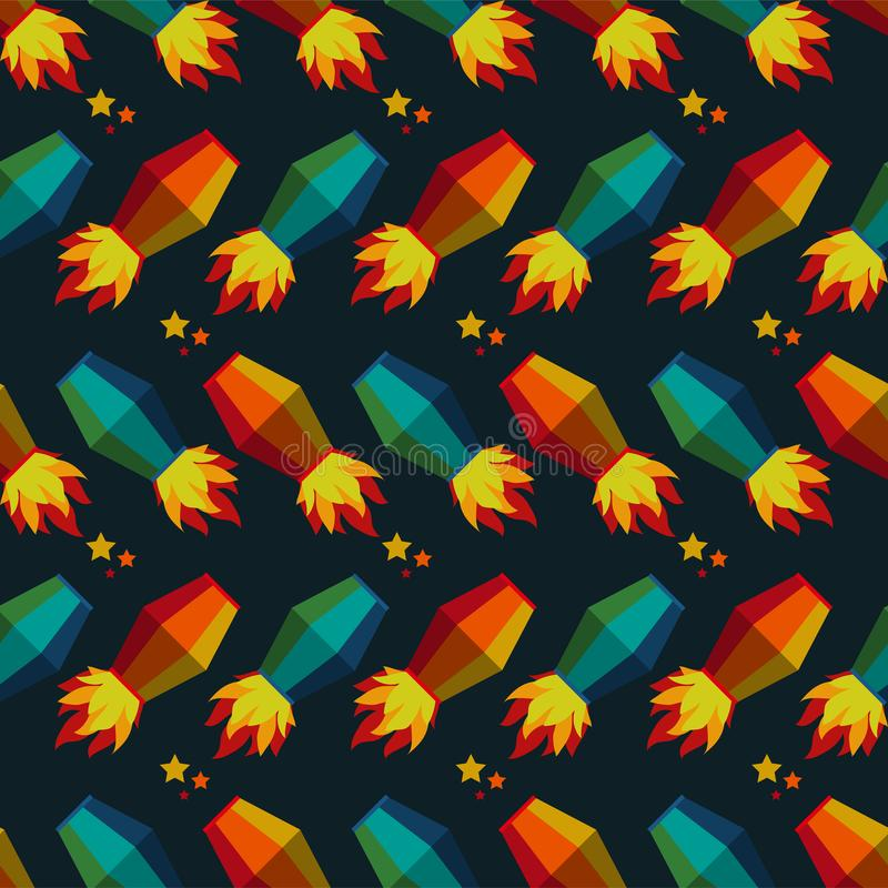 Modèle sans couture de lanternes de vol de Festa Junina illustration libre de droits