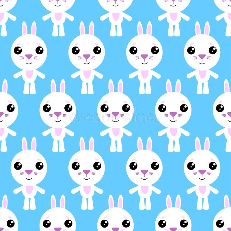 Modèle sans couture de lapin de bande dessinée sur le fond bleu illustration stock