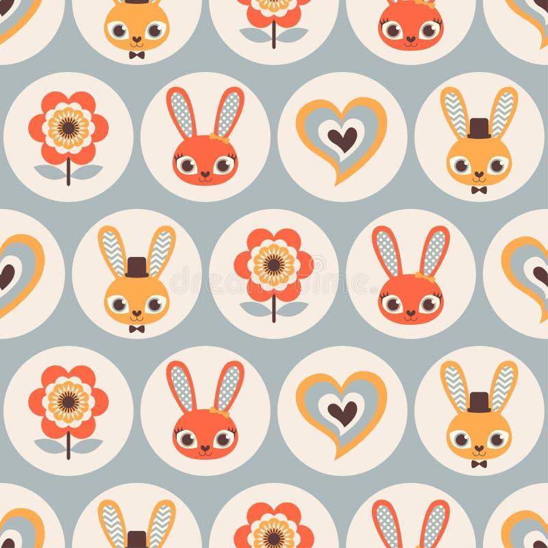 Modèle sans couture de lapins de bande dessinée illustration de vecteur