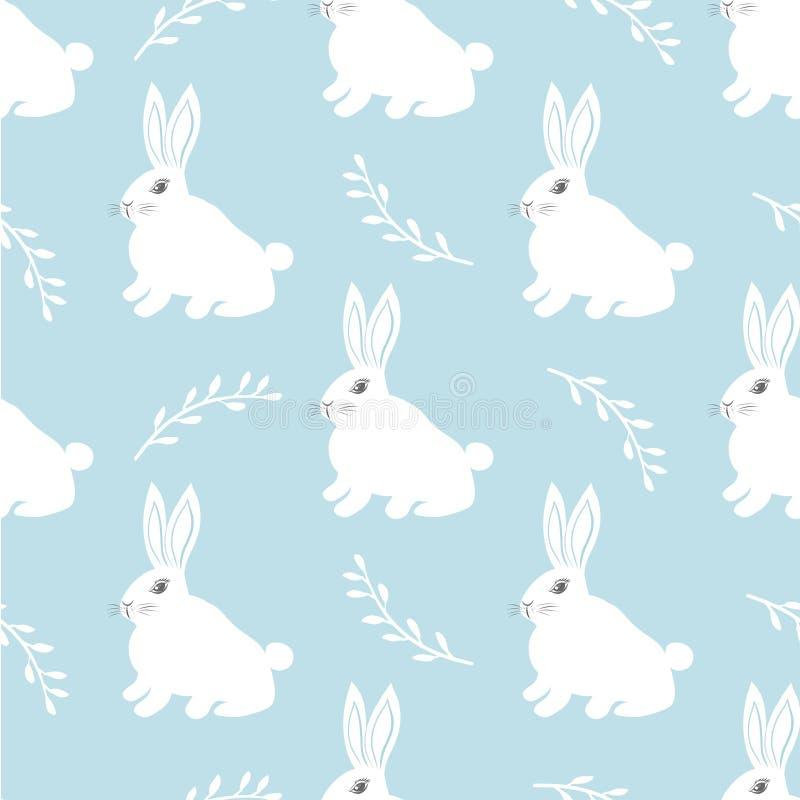 Modèle sans couture de lièvres Petit lapin mignon sur un fond bleu Conception mignonne de lapin pour le tissu et le décor illustration de vecteur