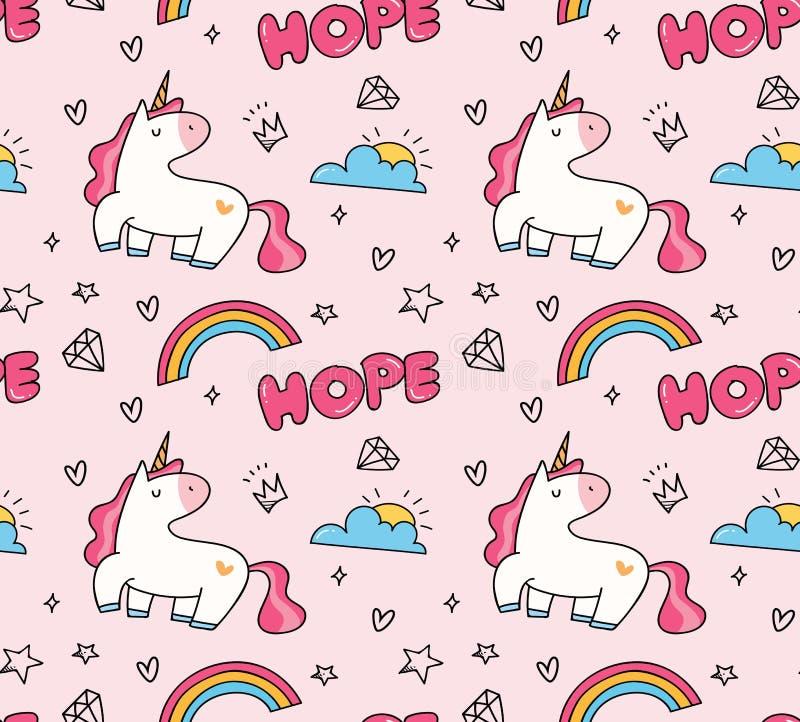 Mod?le sans couture de licorne et d'arc-en-ciel dans le vecteur de style de kawaii illustration libre de droits