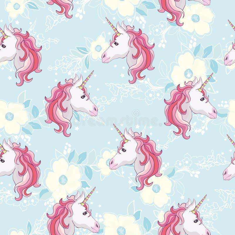 Modèle sans couture de licorne Licornes avec la crinière et le klaxon d'arc-en-ciel sur le fond pourpre plat avec des étoiles Ill illustration stock
