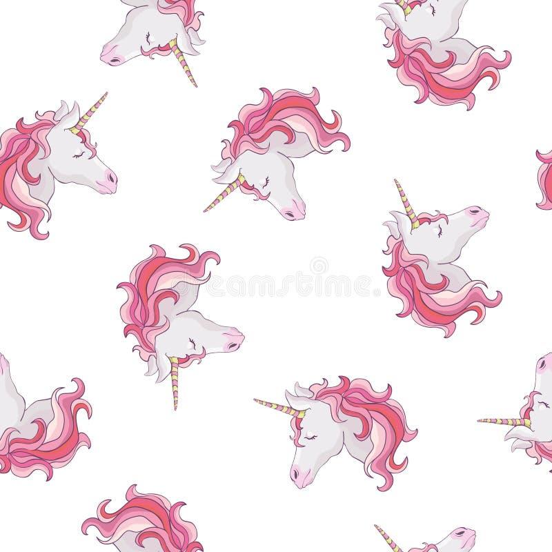 Modèle sans couture de licorne Licornes avec la crinière et le klaxon d'arc-en-ciel sur le fond pourpre plat avec des étoiles Ill illustration de vecteur
