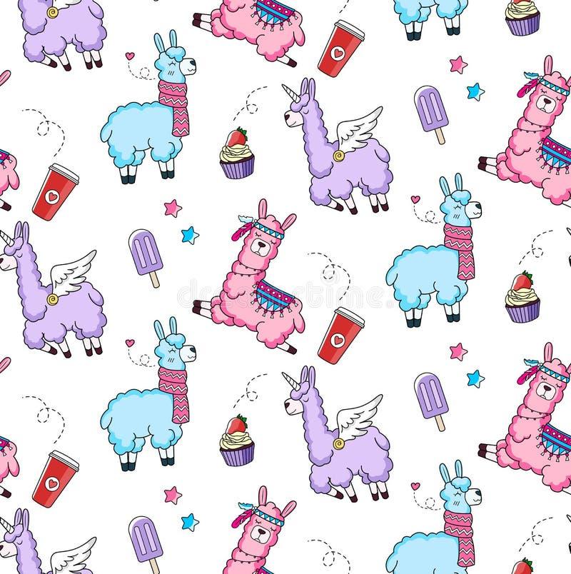 Modèle sans couture de Lllama avec les lamas mignons et les griffonnages DES d'alpaga illustration libre de droits