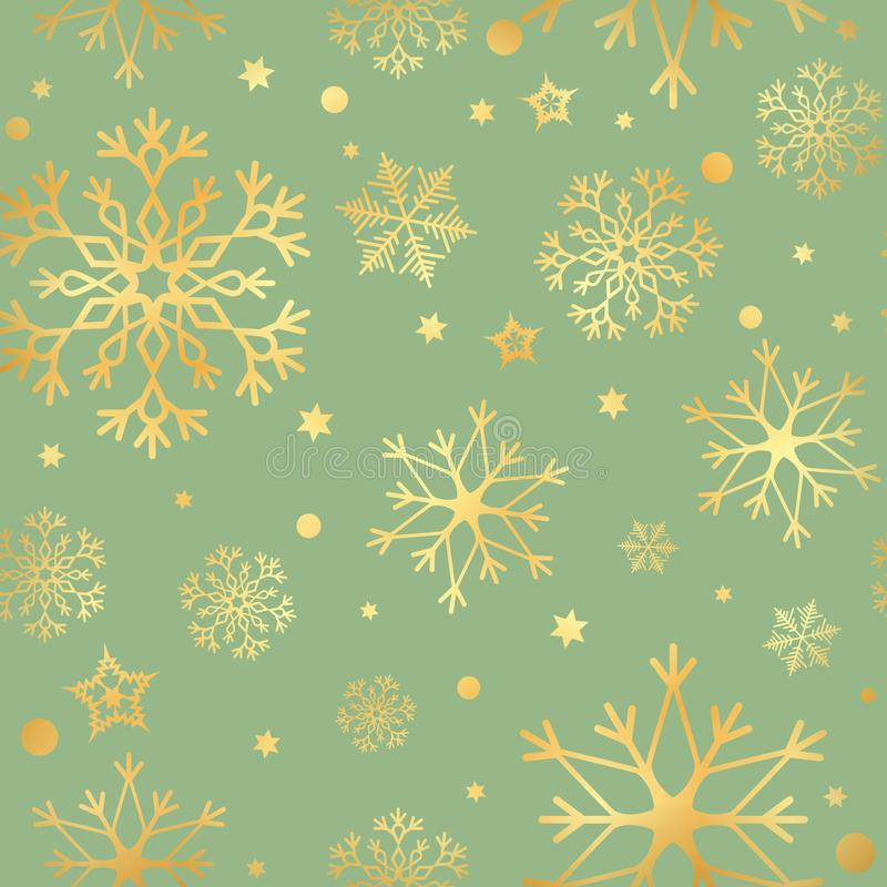 Modèle sans couture de luxe avec les flocons de neige d'or et le fond sans couture d'étoile Illustration de vecteur illustration de vecteur