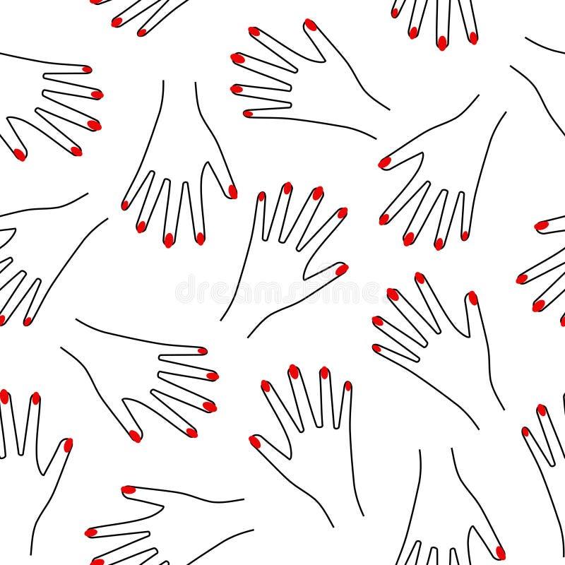 Modèle sans couture de main sur le fond blanc Illustration de fille drôle mignonne avec les clous rouges illustration libre de droits